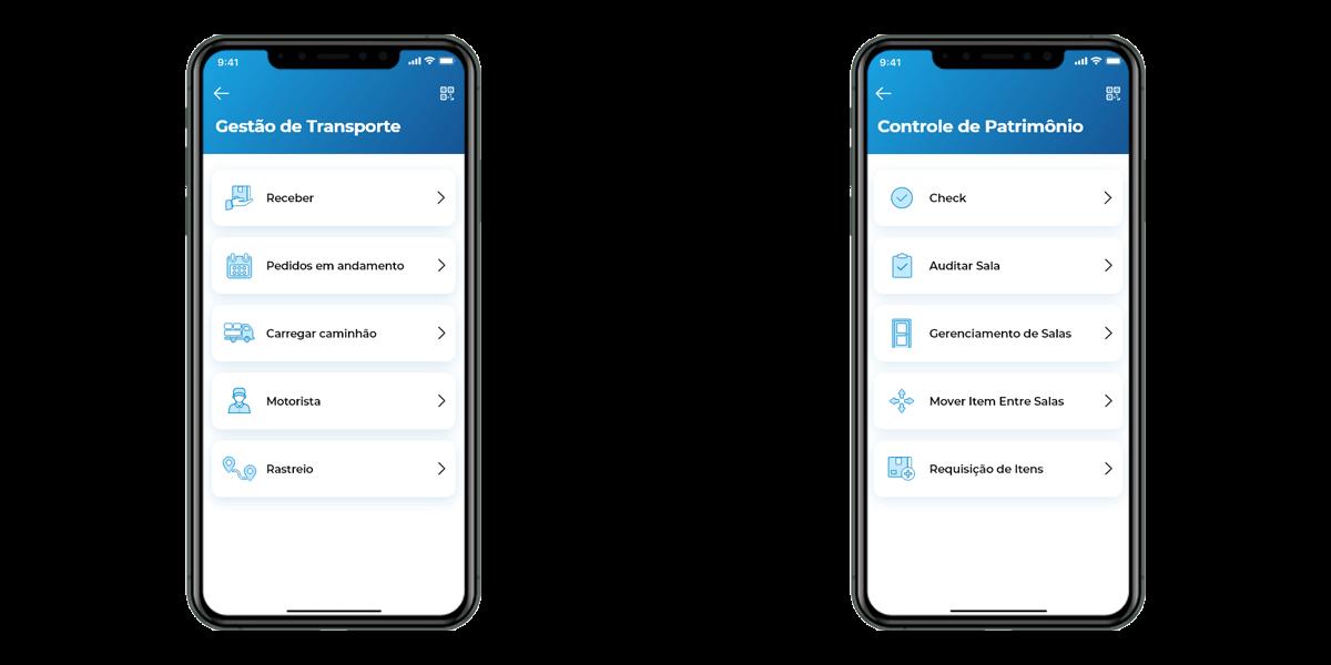 Telas Iniciais Módulos Gestão de Transporte e Controle de Patrimônio App Entregamos